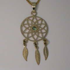 Solid 9ct Yellow Gold Dreamcatcher Pendant with Natural Sapphire