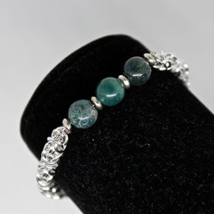 Moss Agate Beaded Chainmaille Bracelet