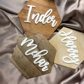 Personalised Wooden Wall Tiles with Family Name- Kalghi Crafts Co