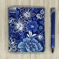 Blue Abstract Floral Small  Fabric Pocket Notepad Cover