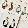Semicircle clay earrings