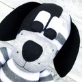 'Dominic' the Sock Dog - grey & white stripes - *READY TO POST*