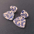 blue & white floral clay earrings