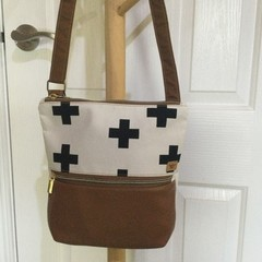 Black & White Crosses/Tan Faux Leather Crossbody Bag