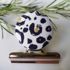 Navy & Gold Cheetah Magnetic Bulldog Clip