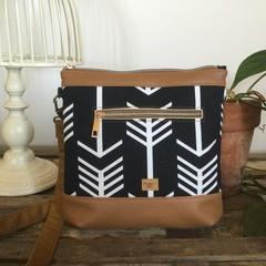 Jasmine Crossbody Bag - Black & White Arrows/Tan Faux Leather