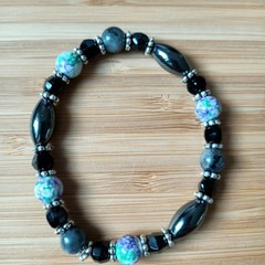 Hematite and Labradorite Stretch Bracelet