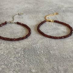 Garnet Gemstone Bracelet Silver or Gold Vermeil