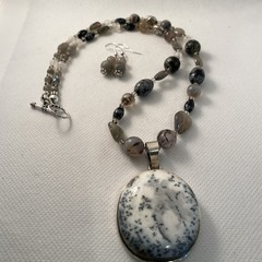 Dalmatian Jasper and Labradorite Necklace and Earring Set