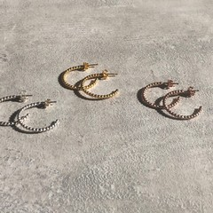 Boho Small Hoops Earring in Silver, Gold or Rose Gold Vermeil