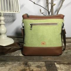 Jasmine Crossbody Bag - Green Suede/Tan Faux Leather