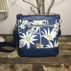Jasmine Crossbody Bag - Aust. Flannel Flowers on Navy/Navy Faux Leather