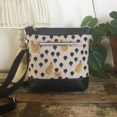 Jasmine Crossbody Bag - Leopards on Linen Fabric/Black Faux Leather