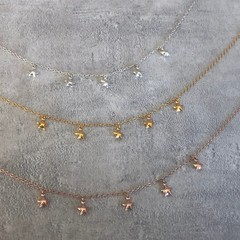 Tiny Star Charm Cluster Necklace in Silver, Gold or Rose Gold Vermeil