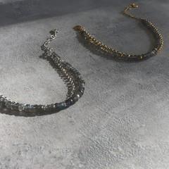 Labradorite Layered Bracelet in Silver or Gold Vermeil