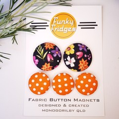 Black Floral with Orange Spot Flat Magnet Set