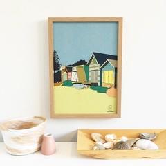 Beach Hut Linen Print