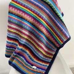 "Navy Sheep"" Pram Blanket - hand knitted - pure wool"
