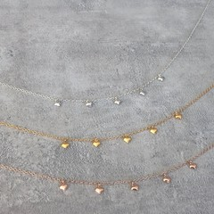 Tiny Heart Cluster Necklace in Silver, Gold or Rose Gold Vermeil