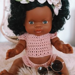 GIFT SET - Paola Reina Jazmine Doll, crochet outfit with rose gold coloured fram
