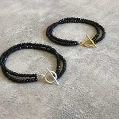 Black Spinel Gemstone Double Strand Bracelet in Silver or Gold Vermeil