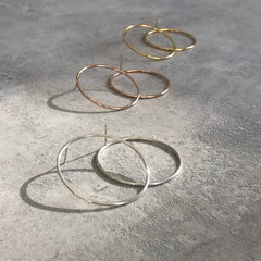 Large Circle Hoop Studs in Silver, Gold or Rose Gold Vermeil