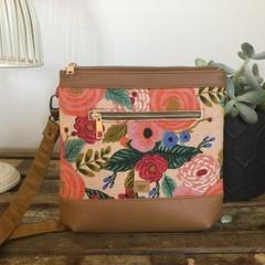 Jasmine Crossbody Bag - Pink/Peach Linen Floral/Tan Faux Leather