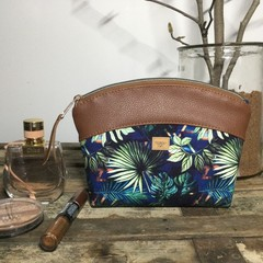 Small Makeup Purse/Toiletry Bag - Tropical Leaves/Tan Faux Leather
