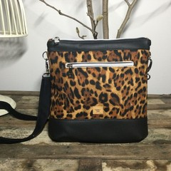 Jasmine Crossbody Bag - Leopard Print in Black & Brown/Black Faux Leather