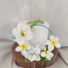 Tropical Cake Topper Luau Artificial Silk Hibiscus