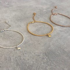 Heart Charm Beaded Bracelet Silver, Gold or Rose Gold Vermeil