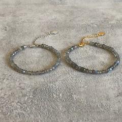 Labradorite Gemstone Bracelet in Silver or Gold Vermeil