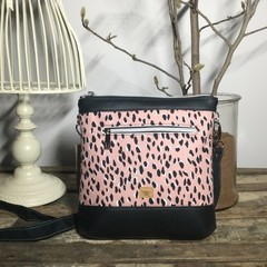 Jasmine Crossbody Bag - Leopard Print in Pink & Black/Black Faux Leather
