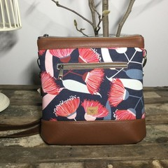 Jasmine Crossbody Bag - Gum Blossom on Navy/Tan Faux Leather