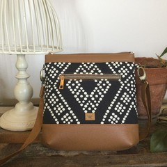 Jasmine Crossbody Bag - Black & White Dots/Tan Faux Leather
