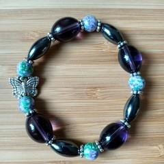 Hematite Butterfly Stretch Bracelet