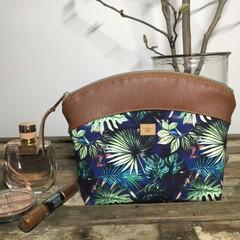 Medium Makeup Purse/Toiletry Bag - Tropical Leaves/ Tan Faux Leather