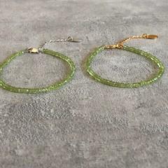 Lime Peridot Gemstone Bracelet in Silver or Gold Vermeil