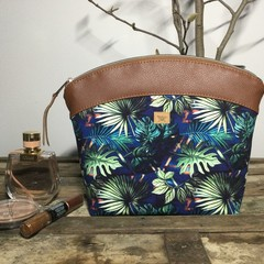 Large Makeup Purse/Toiletry Bag - Tropical Leaves/TanFaux Leather
