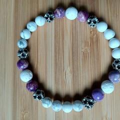 White Howlite, Purple Sea Jasper and White Lava Stone Gemstone Stretch Bracelet