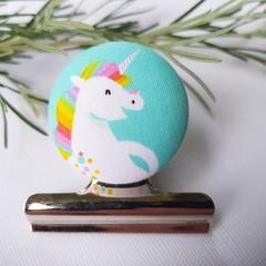 Rainbow Unicorn Magnetic Bulldog Clip