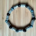 Labradorite and Black Obsidian Stretch Bracelet