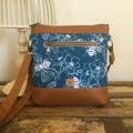 Jasmine Crossbody Bag - Bees & Flowers in Blue/Tan Faux Leather