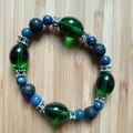 Lapis Lazuli & Black Lava Diffuser Bead Stretch Bracelet