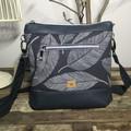 Jasmine Crossbody Bag - Navy Leaves/Navy Faux Leather