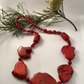 Howlite and Sea Bamboo Necklace