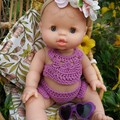 Doll gift set with bikini style crochet set with flower crown and heart sunglass