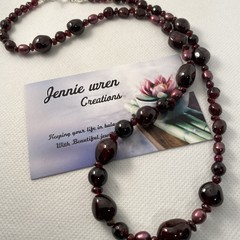 Garnet and Pearl Necklace