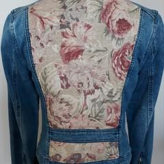 Upcycled Denim motorcycle Jacket  Vintage Linen flower Theme, classic Size 10 .