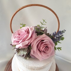 Vintage Style Cake Topper Artificial Silk Roses